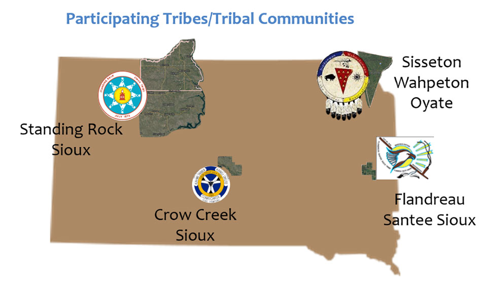 South Dakota Map with Tribal Flags